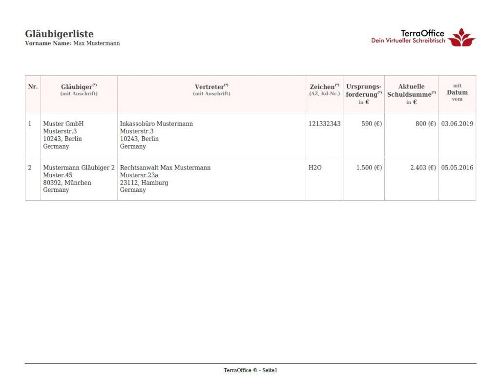 Muster einer Gläubigerliste pdf Datei