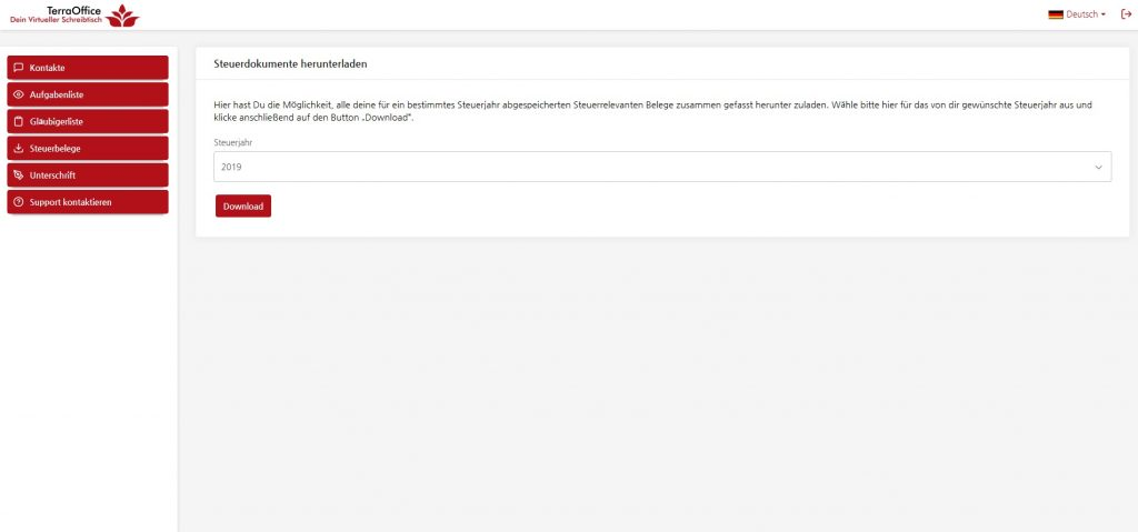 Screenshot der Funktion Steuerbelege exportieren